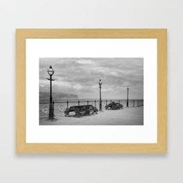 Lamps And Benches Black And White Framed Art Print