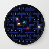pacman Wall Clocks featuring Pacman by Foxxya
