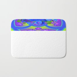 Blue Morning Glories Purple-Green Geometric Abstract Bath Mat