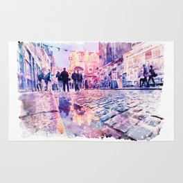 Dublin Watercolor Streetscape Rug