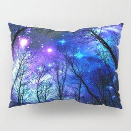 black trees purple blue space Pillow Sham