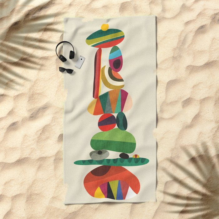 Totem - balanced pebbles Beach Towel