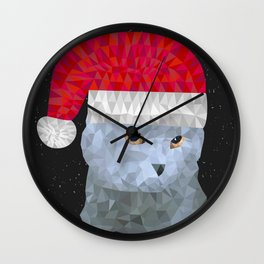 Gray british cat with christmas hat Wall Clock