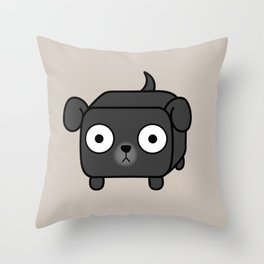 Pitbull Loaf - Black Pit Bull with Floppy Ears Throw Pillow