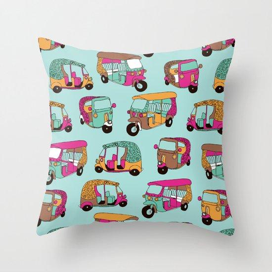 India rickshaw illustration pattern Throw Pillow