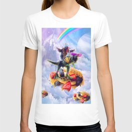 Sloth Riding Dinosaur On Clouds And Waffles T-shirt