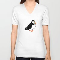 puffin V-neck T-shirts featuring Puffin by San F. Yezerskiy