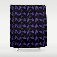 Indigo Monstera Leaf Watercolor on Black Shower Curtain