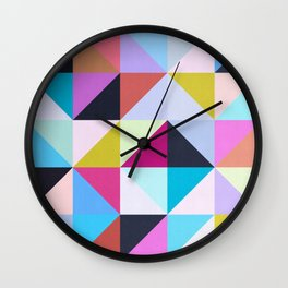 Vibrant and colorful geometry II Wall Clock