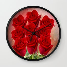 Forever My Love - Red Roses With Hearts Wall Clock