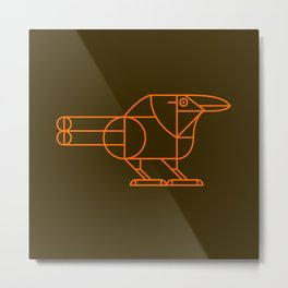 Raven on Brown Metal Print