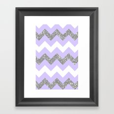 purple glitter chevron Framed Art Print
