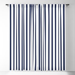 Navy Blue Vertical Stripes Blackout Curtain
