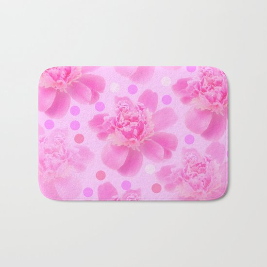 Cute and girly - pink flowers and dots - pink tones - #society6 #buyart Bath Mat