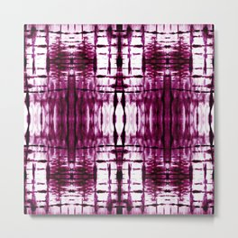 Black Cherry Plaid Shibori Metal Print