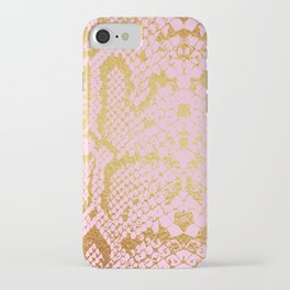 Pink and Gold Snakeskin Print iPhone Case
