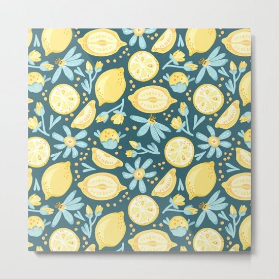 Lemon Pattern Green Metal Print