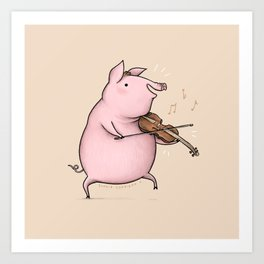Piggy on the Fiddle Art Print