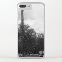 Eifel Tower with light post Clear iPhone Case