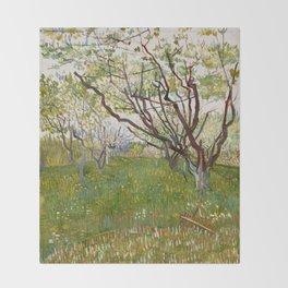 Flowering Orchard by Vincent van Gogh Throw Blanket