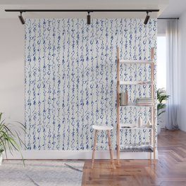 Ancient Japanese Calligraphy // Dark Blue Wall Mural