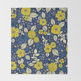 Yellow & Blue Floral Pattern Throw Blanket