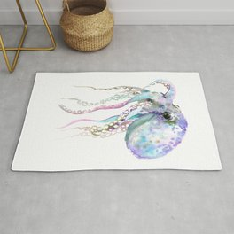 Octopus soft gray violet, turquoise soft colored octopus design beautiful octopus decor Rug
