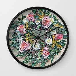 Rose Ring in pink, white, yellow and green Wall Clock