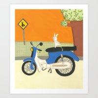 motorbike Art Prints featuring motorbike by Valeria Cis