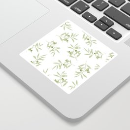 olive branch pattern design - white Sticker