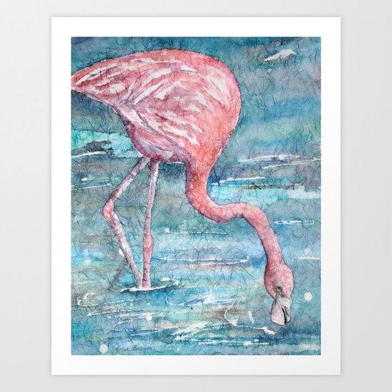 Batik Flamingo Bird Art Print