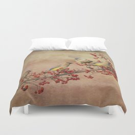 Cedar Waxwings Gathering Duvet Cover