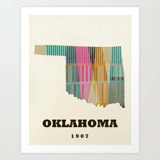 Oklahoma state map modern  Art Print