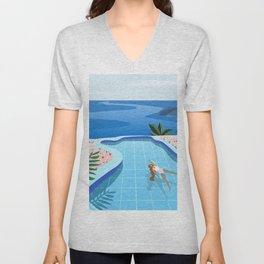 Girl at pool Unisex V-Neck