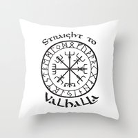 vikings Throw Pillows featuring Straight to Valhalla, Vikings by ZsaMo Design