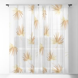 Golden Palm Leaf Sheer Curtain