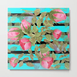 The buds of tender roses on a Turquoise background . Retro . Metal Print