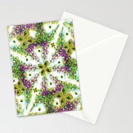 Neo Noveau Style Floral Pattern in Cold Tones Stationery Cards