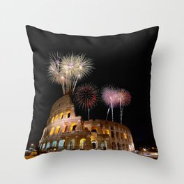 Colosseum illuminated with fireworks in Rome. Throw Pillow