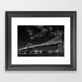 Queensborough Bridge at night. Black and white photography Framed Art Print