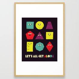 Let's All Get Along Framed Art Print