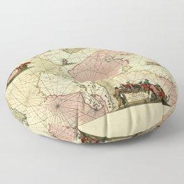 Map Of Newfoundland 1675 Floor Pillow