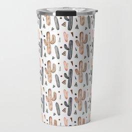 Neutral Watercolor Cacti & Geometric Shapes Travel Mug