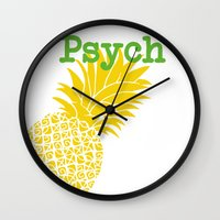 psych Wall Clocks featuring Minimalist Psych  by Canis Picta