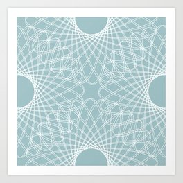 mathematical rotating roses - pale blue Art Print