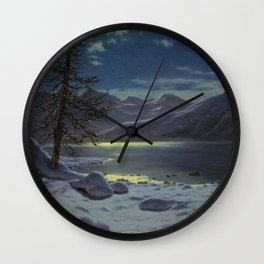 Moonlit Lake, Winter Landscape by Ivan Fedorovich Choultsé Wall Clock