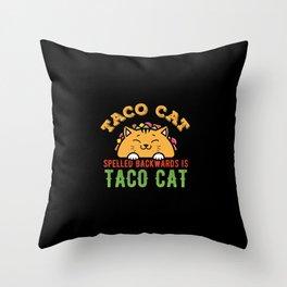 Taco Cat Funny Tacocat Throw Pillow