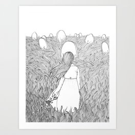 Goodbye Line Version Art Print