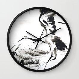 watercolor japan art grue, flying bird chinese ink Wall Clock