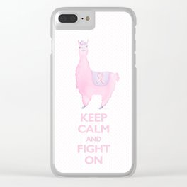 Llama for the Cure: Keep Calm and Fight On Clear iPhone Case